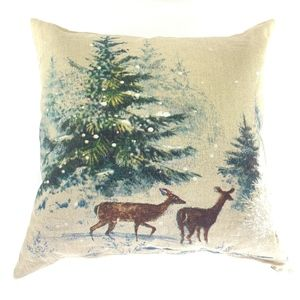 """Pottery Barn Pillow 20"""" Deer in Snow with Trees"""